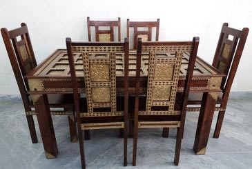 Solid & Brass Fitted Dining Set