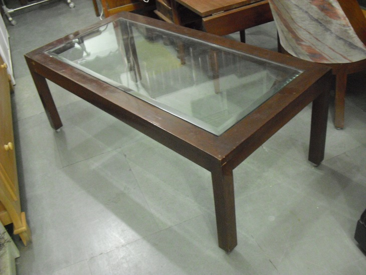 Wooden Center Table With Glass Top | Used Furniture for Sale