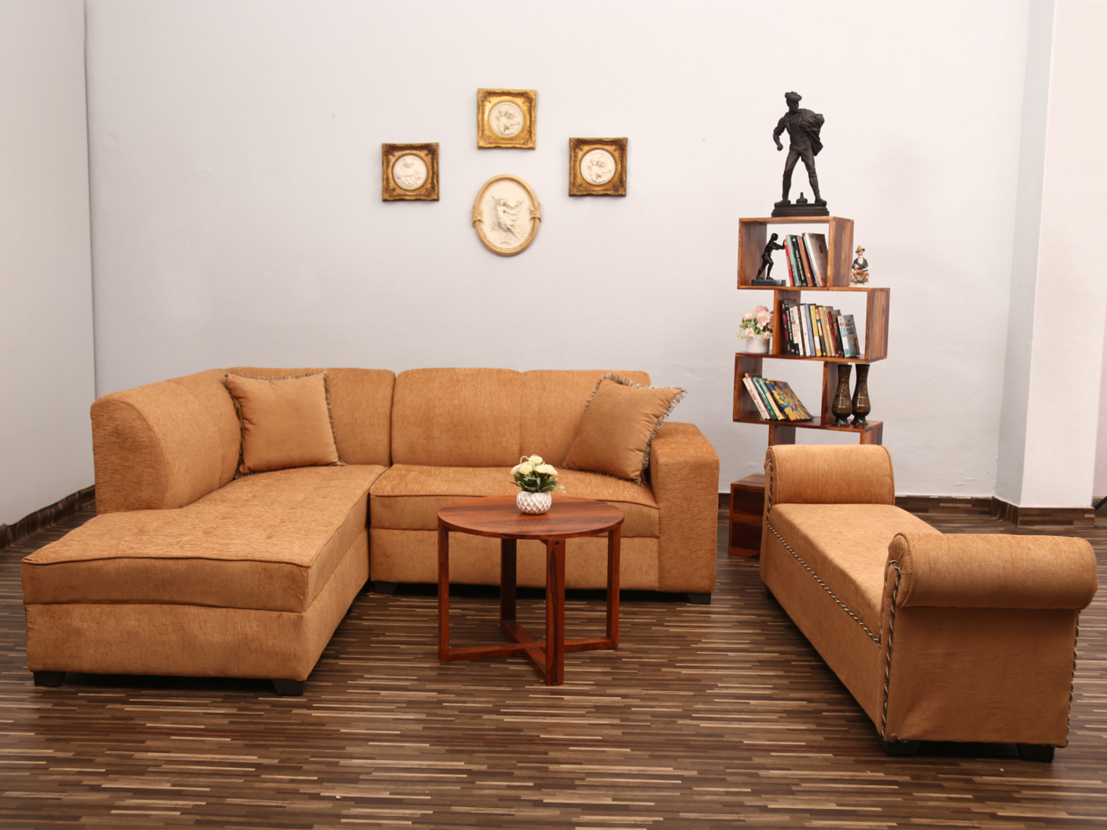Beige l shape sofa with settee used furniture for sale for Settees for sale