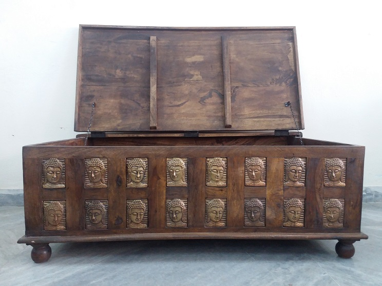Antique Brass Wooden Trunk Used Furniture For Sale