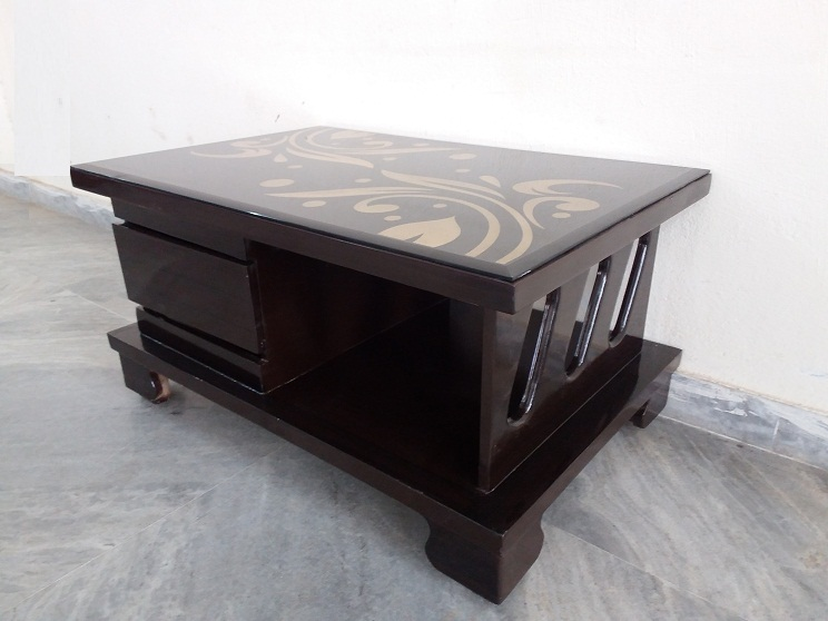 Glass Top Wooden Center Table | Used Furniture for Sale