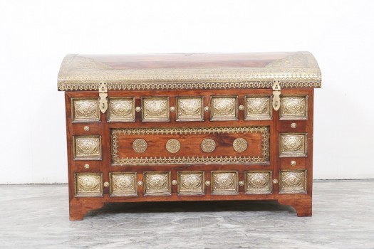 used Round Top Brass Fitted Trunk