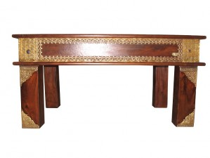 used Solid Wood & Brass Fitted Table