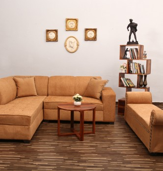 used Beige L Shape Sofa with Settee