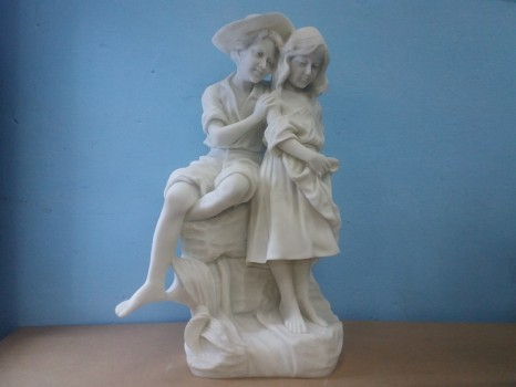 used Boy & Girl Marble Statue