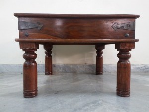 used Solid Wood & Brass Side Table