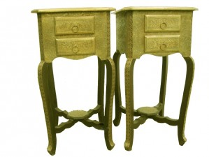 used Brass Fitted Side Table Pair