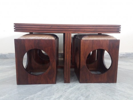 used Solid Wood 4 Stool Coffee Table