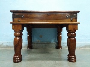 used Wooden Brass Fitted Side Table