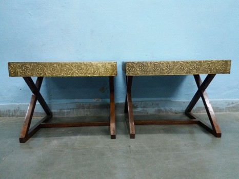used Solid Brass Side Table Pair
