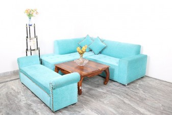 used Blue L Shape Sofa with Settee
