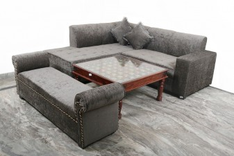 used Mehandi Color L Shape Sofa