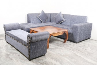 used Grey L Shape Sofa with Settee