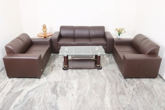 used 7 Seater Brown Leatherite Sofa