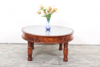 used Round Brass & Tile Table