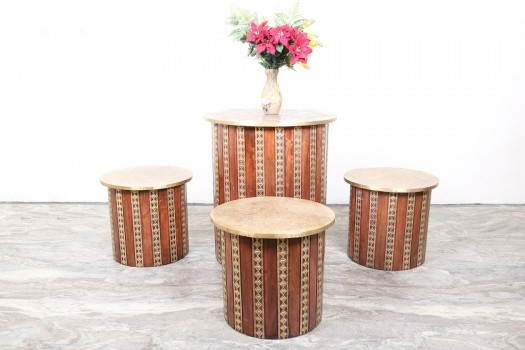 used Brass Fitted Coffee Table Set