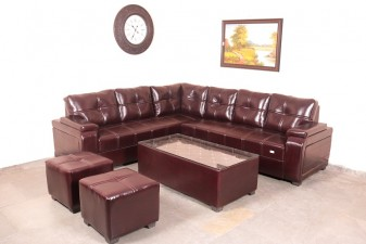 used Leather L Shape Sofa Set