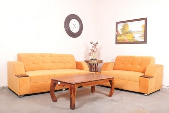 used 5 Seater Saffron Color Sofa