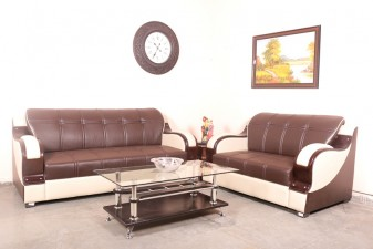 used Cream & Brown Sofa