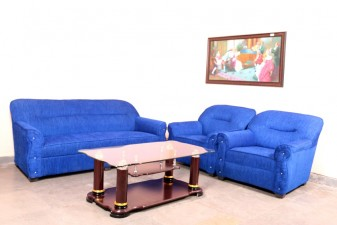 used 5 Seater Royal Blue Fabric Sofa