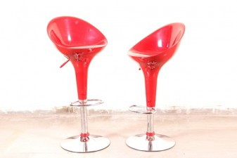 used Red Steel Bar Chair Pair