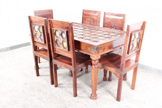 used Brass Tile Fitted Dining Set
