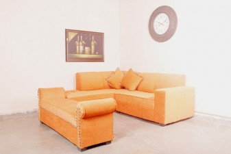 used Orange Color L Shape Sofa