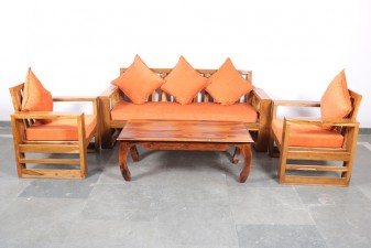 used 5 seater Teak Wood Sofa