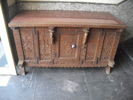 used Antique Side Board With Marble Top